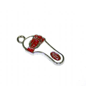 1pce x 24*11mm Rhodium plated red sandals enamel charm - SD03 - CHE1055